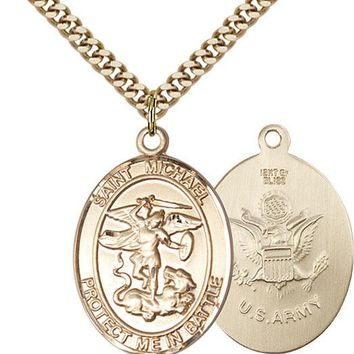 14K Gold Filled St Michael Army Military Soldier Catholic Medal Necklace 617759792874