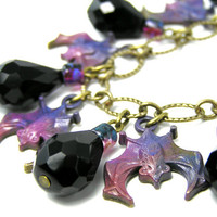 Bat Charm Bracelet, Bat Charms, Purple Bat, Vampire Bat, Jet Black Crystal