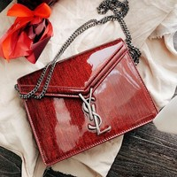 YSL Hot Sale Fashion High Quality Women Leather Metal Chain Handbag Shoulder Bag Crossbody Satchel