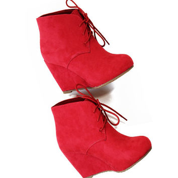 SZ 6.5 Story Of My Life Sangria Suede Booties