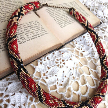 Red black python necklace rope skin reptile snake animal skin print beadwork unusual safari jewelry crochet casual jewellery like snake skin