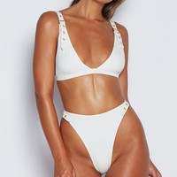South Shore White Sleeveless Grommet Buckle Strap V Neck High Cut Two Piece Bikini Swimsuit