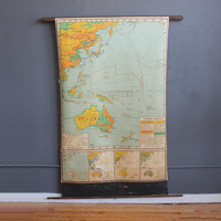 Giant School Pull Down Map of Australia & The Far East - 6 Feet Tall