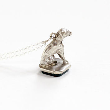 Antique Sterling Silver Victorian Dog & Bloodstone Fob Necklace - Late 1800s Rare Green and Rem Gemstone Animal Pendant Charm Jewelry