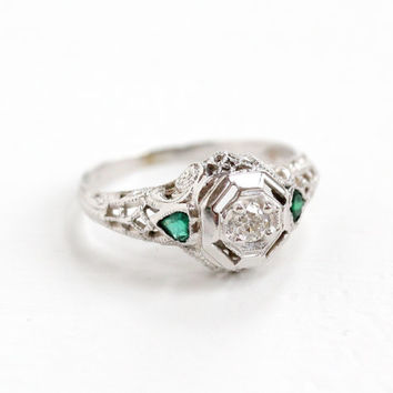 Antique 18K White Gold Diamond & Emerald Filigree Ring - Art Deco 1920s 1930s Green Accented Fine Engagement Jewelry