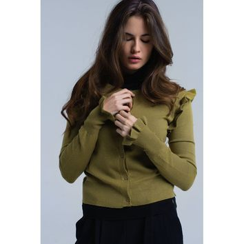 Green cardigan with ruffle detail