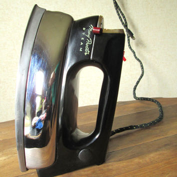 Steam Iron mid century modern industrial retro home decor chrome bakelite vintage 50s appliance Mary Proctor sewing ironing laundry room