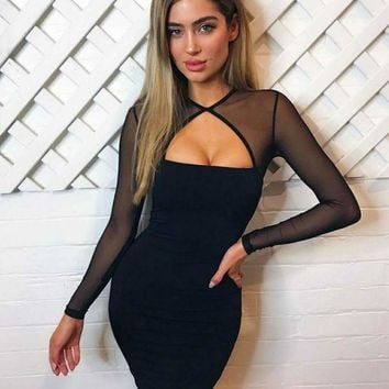 DCCKG2C 2018 Trending Black Herve Leger bandage dress long sleeved Lace Applique bodycon Fashion women prom dress