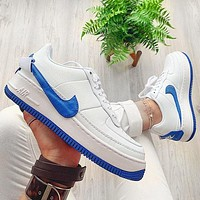 Nike Air Force 1 AF1 JESTER Transformed Crooked Sneakers Flat Shoes Blue hook