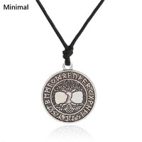 Minimal Tree of Life Vikings Runes Amulet Pendant Necklace Yggdrasil Necklace Nordic Talisman Wicca Jewelry for Man/Woman