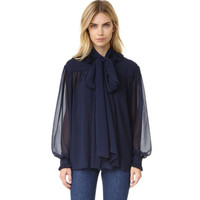 Navy Bow Collar Sheer Mesh Long Sleeve Two Piece Blouse
