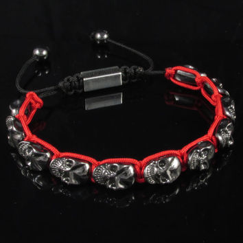 Skull Shamballa Bracelet Hand made ( Lead and Nickel Free ) Red and Black