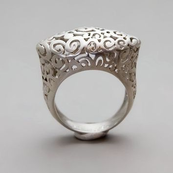 Sterling Silver Ring  Crown Lace Ring  Handmade by toolisjewelry