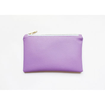 LILAC VEGAN LEATHER WALLET CLUTCH