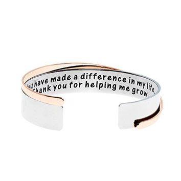 Ms Clover Gifts for Teacher What I Learned From YouThank You for Helping Me Grow Hand Stamped Stainless Steel Cuff Bracelets Teacher Gift Graduation Gifts
