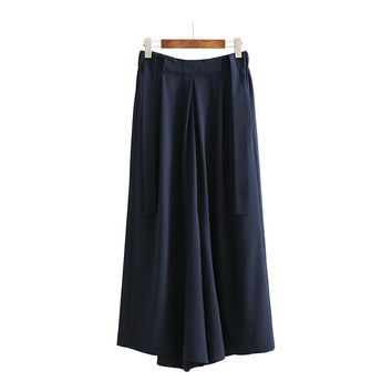 Women Wide Leg Pants High Waist Bell Bottoms Palazzo Bottom with Strap Casual Clothes