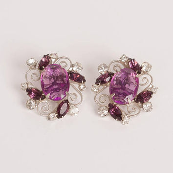 Vintage Purple and Clear Rhinestone Silver Tone Clip Earrings, Jewelry for Women, Free US Shipping, Oval Earrings