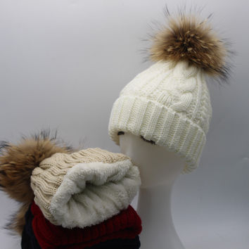 Womens Warm Fleece Inside Beanie Hats Winter Mink Raccoon Fur Pompom Hat Female Cap
