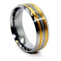 Blue Chip Unlimited - 8mm Titanium with 2 18k Gold Plated Lines Ring Wedding Band Men's Wedding Rings Men's Engagement Bands Designer Ring Size (7)
