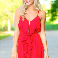 Red V-Neck Spaghetti Strap Zippered Ruffles Dress