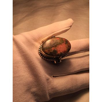 Vintage Large stone Brass knuckle poison pillbox adjustable ring