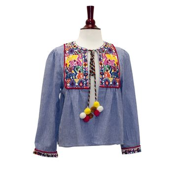 1006-Blue pinstripe embroidery jacket