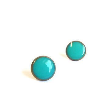 Turquoise stud earrings tiny earring studs by agatechristina