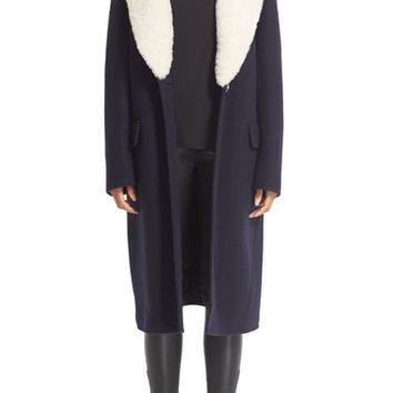 Loewe Wool & Cashmere Coat with Removable Genuine Shearling Collar | Nordstrom