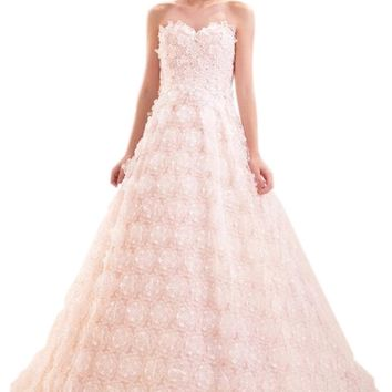 ZHUOLAN White Sweetheart Ball Gown in Lace Wedding Dress