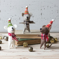 (Set of 3) Felt Dancing Christmas Mice
