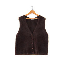 Vintage cocoa brown sweater vest. Sleeveless mohair sweater. Knitted sweater. Preppy sweater.