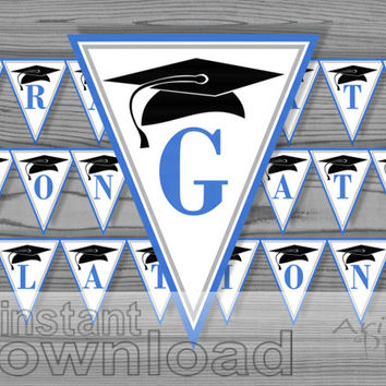 blue congrats  graduate printable party banner / congradulations /  graduation cap image / instant download
