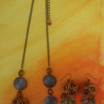 Fall jewelry  - Floral earrings - Floral necklace - Handmade jewelry set