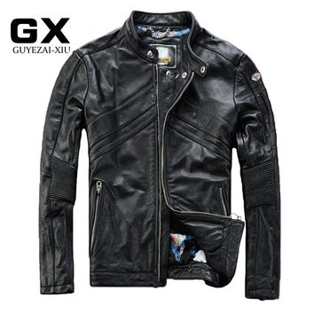 2017 Men's Motorcycle Leather jackets Black Fashion Draped Bomber Leather Jacket men China small Size S-XXXL