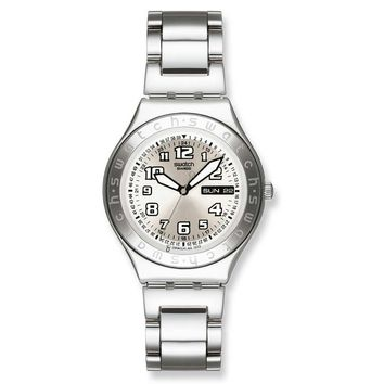 Swatch YGS716GX Unisex Swiss Made Silver Dial Stainless Steel Watch