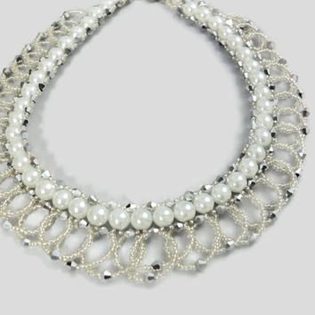Swirling Crystal and pearl beaded bridal necklace - Unique wedding necklace -contemporary wedding jewelry -Egyptian Collar