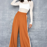 'Savvy' Tan Super Wide Leg Trousers - Mistress Rocks