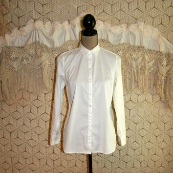 Long Sleeve White Blouse White Shirt Tailored Cotton Women Shirts Button Up Blouse Ann Taylor Petite Size 8 Size 10 Medium Womens Clothing