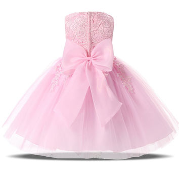 Cute Princess Baby Girl First Birthday Party Dress Pink White Puffy Tutu Lace Wedding Gown Dress For Baby Girls Baptism Clothes
