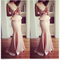 Sleeveless Bodycon Fishtail Peplum Maxi Dress