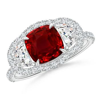 Claw Set Royal Ruby and Diamond Halo Three Stone Ring