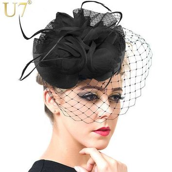DCCKHY9 U7 European Style Veil Feather Women Hair Accessories Fascinator Hat Cocktail Party Wedding Headpiece Court Headwear Lady F302