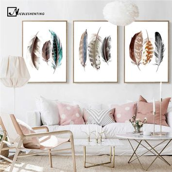 Watercolor Feathers Abstract Poster Canvas Prints Minimalist Wall Art Painting Decorative Picture for Living Room Nordic Style