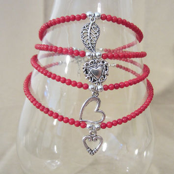 Handmade Genuine Red Coral Beaded Anklet w/ Silver Charm, Fashion Jewelry, Romantic Style, Simple Elegance, Sophisticated, Ladies Gift, Cute