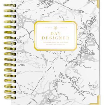 2018-19 Academic Year Daily Planner: White Marble - Day Designer