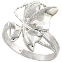 Sterling Silver Butterfly Ring Flawless finish 7/8 inch wide, sizes 6 to 10