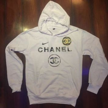 ONETOW Nike and Chanel Print Hooded Pullover Tops Sweater Sweatshirts