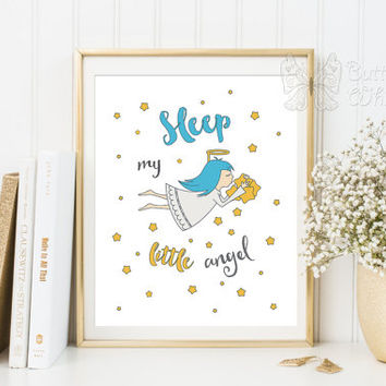 Nursery Prints wall decor printable for the baby Sleep my litte angel wall art poster angel art angels decor baby gift nursery printable