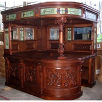 Antique Covered English Style Corner L Home Bar, Furniture for Pub or Man Cave, Canopy Right Hand