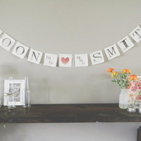Soon To Be Mrs Personalized Bridal Banner THREE OPTIONS, wedding decor, bridal shower, bunting, garland, pennant